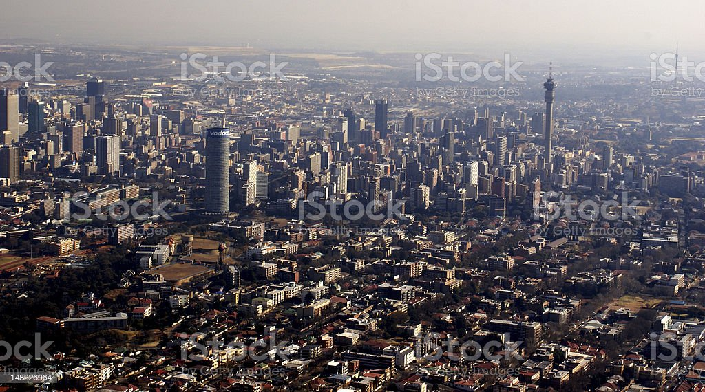 Aerial View of Johannesburg stock photo
