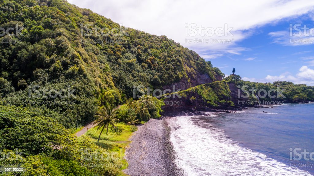 Aerial view of Kalalau Valley, Kauai, Hawaii, USA stock photo