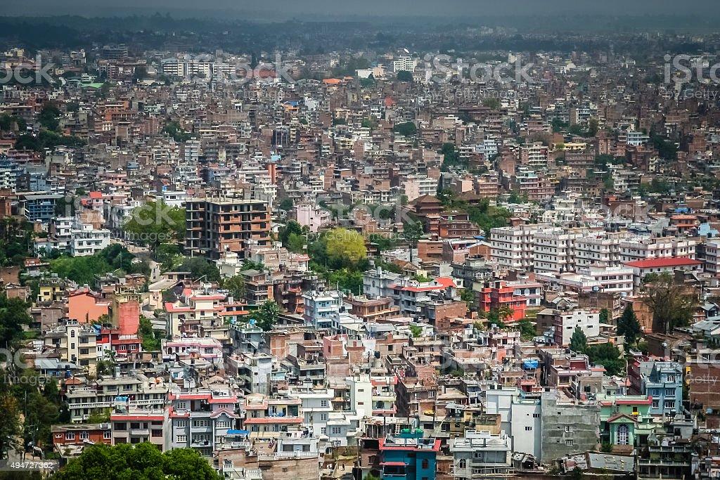 Aerial view of Kathmandu stock photo