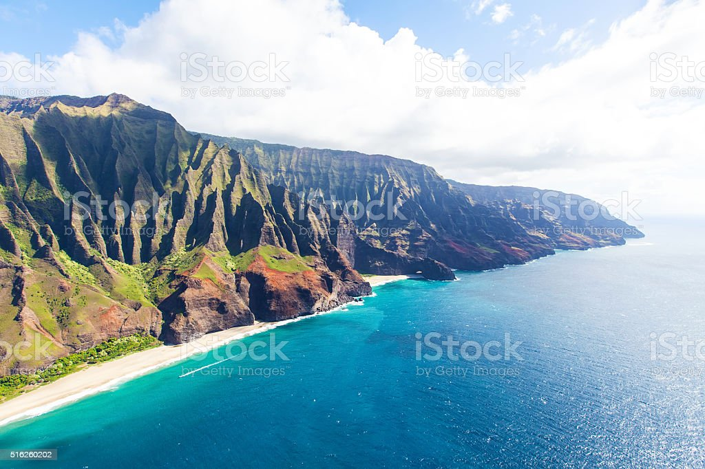 aerial view of kauai stock photo