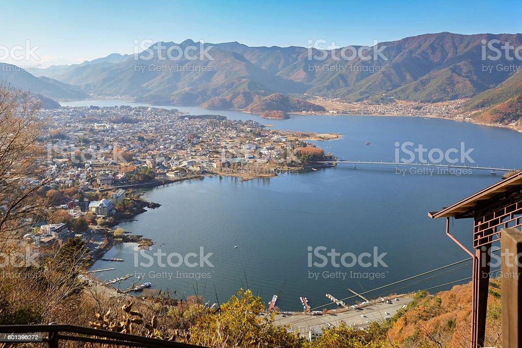 Aerial View of Kawaguchi lake and village stock photo