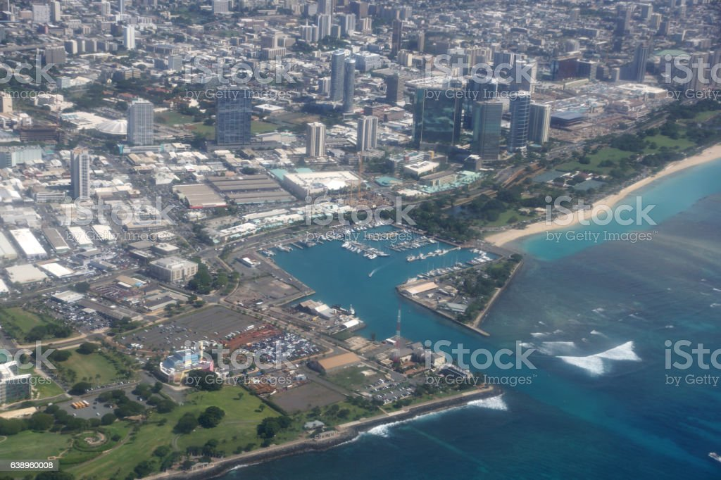 Aerial view of Kewalo Basin Harbor, Kakaako, Ala Moana stock photo