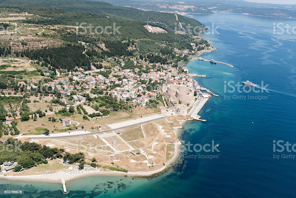 Aerial view of Kilitbahir, Eceabat, Canakkale stock photo