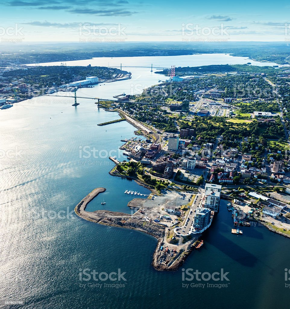 Aerial View of King's Wharf stock photo