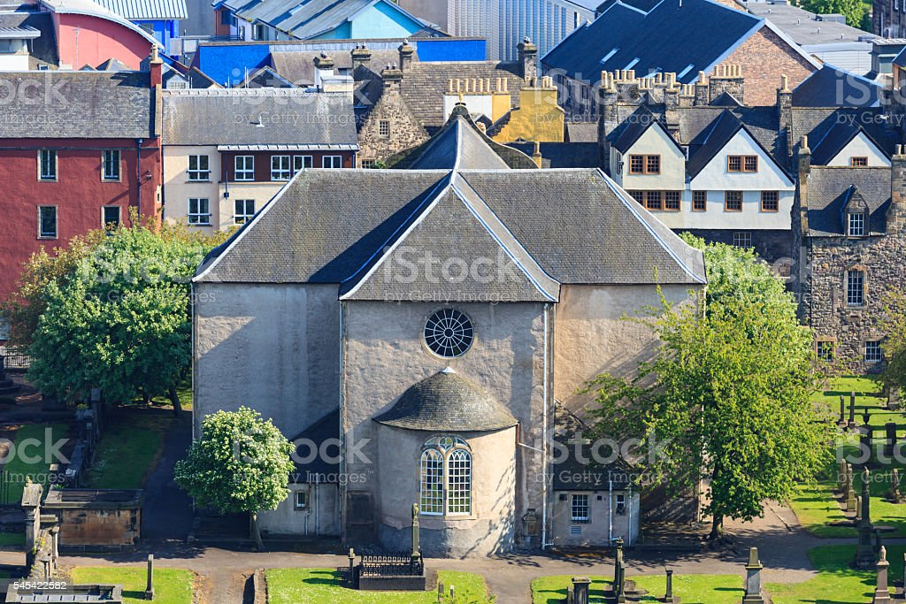 Aerial view of Kirk of the Canongate Edinburgh stock photo