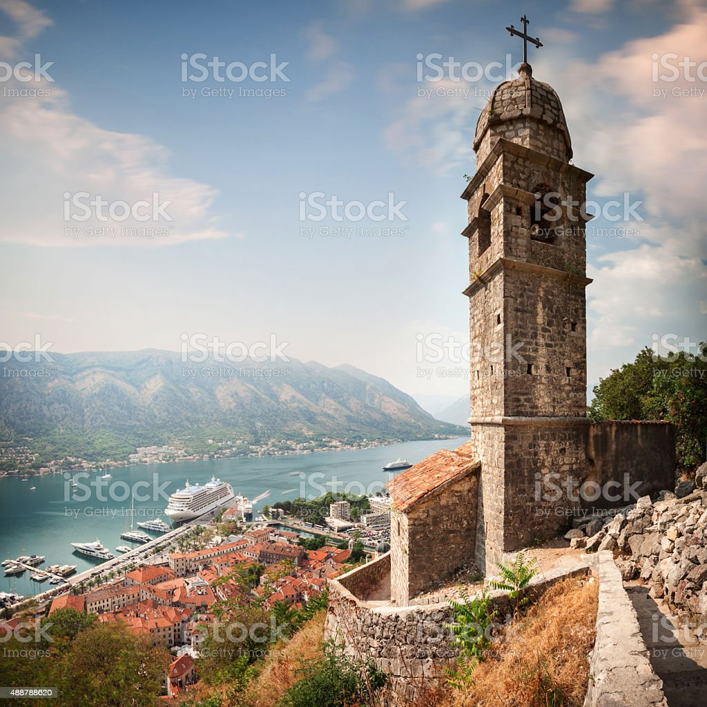 Aerial view of Kotor Bay and Church of Saint Jovan. stock photo