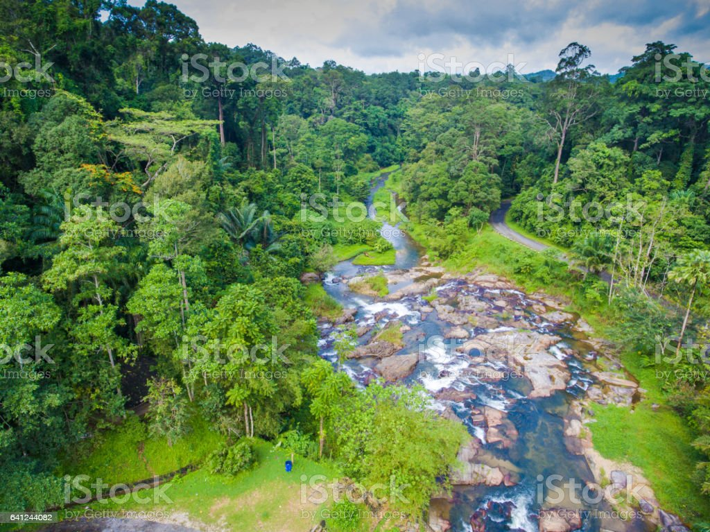 Aerial view of  kra chong waterfall and tropical forest stock photo