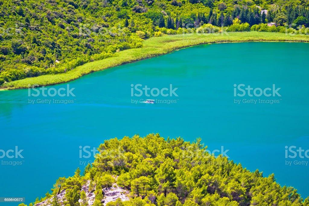Aerial view of Krka river national park, Dalmatia, Croatia stock photo