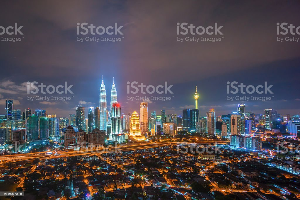 Aerial view of Kuala Lumpur city skyline stock photo