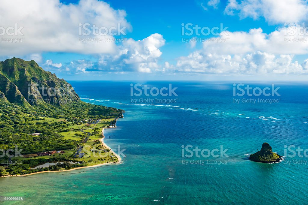 Aerial view of Kualoa Point and Chinamans Hat, Kaneohe Bay stock photo