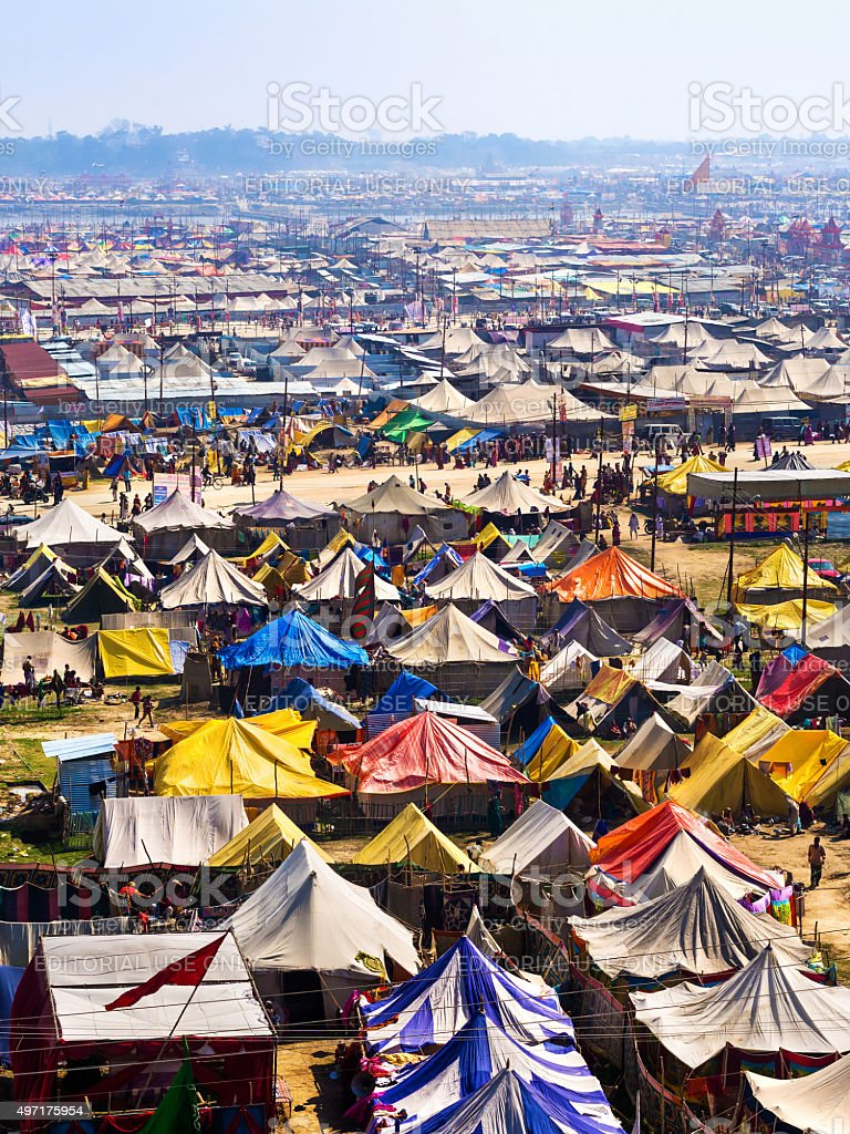 Aerial View of Kumbh Mela Festival in Allahabad, India stock photo