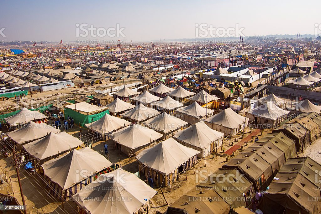 Aerial view of Kumbh Mela Festival in Allahabad, India stock photo