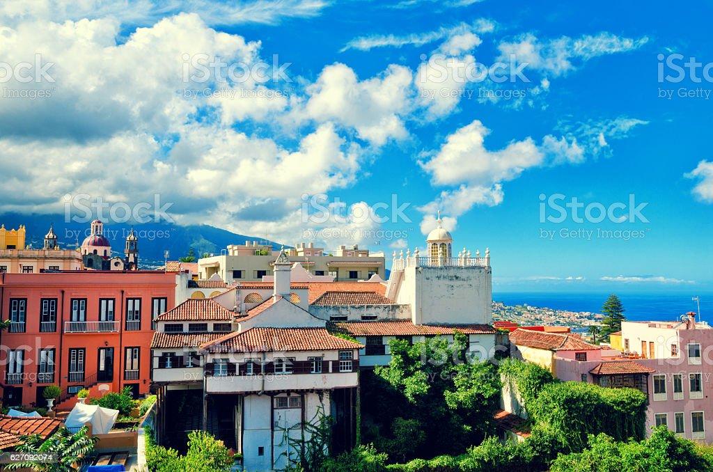 Aerial view of La Orotava town. Historical center landmarks. stock photo