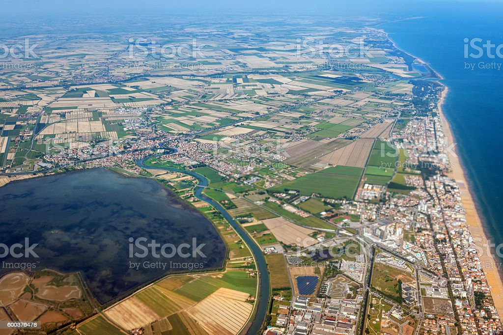 Aerial view of Lagoons near Venice, Veneto, Italy, Europe stock photo