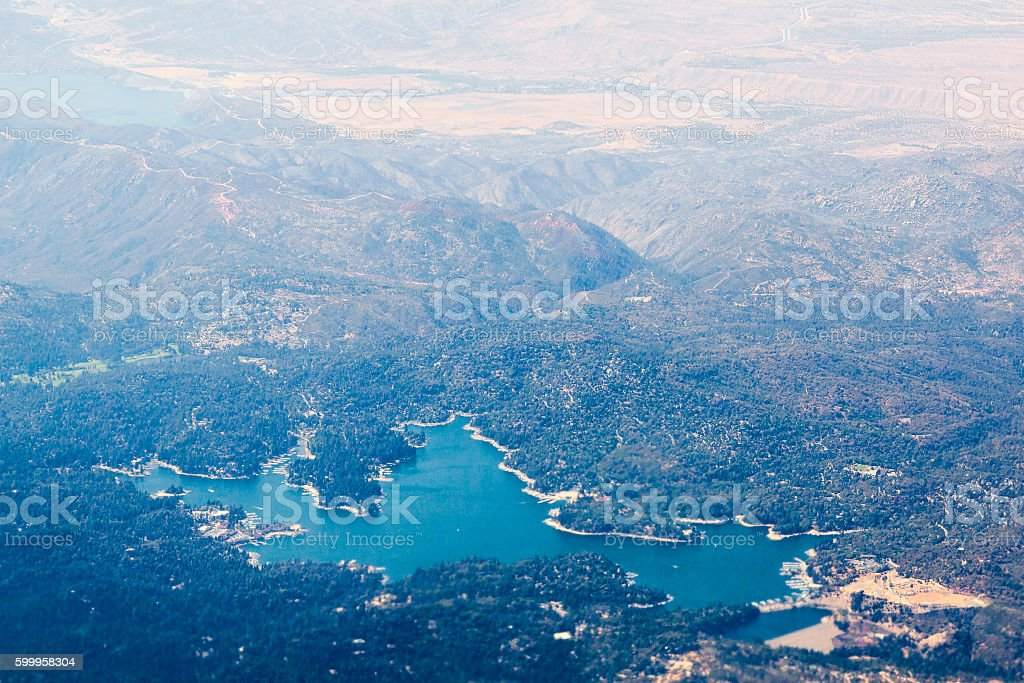 Aerial view of lake Arrowhead in California, the USA. stock photo