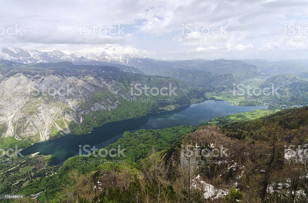 Aerial view of Lake Bohinj stock photo