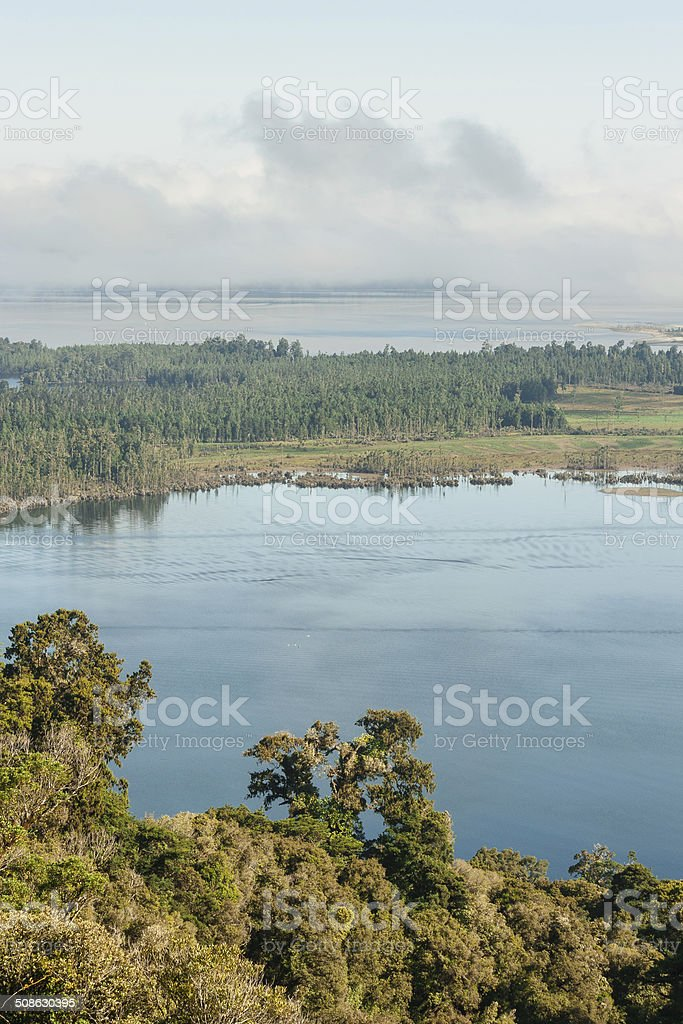 aerial view of lake Brunner, New Zealand stock photo