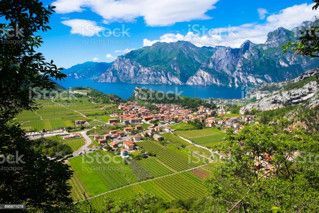 Aerial View of Lake Garda, Italy stock photo