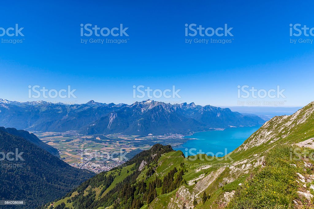 Aerial view of Lake Geneva from Rochers-de-Naye stock photo