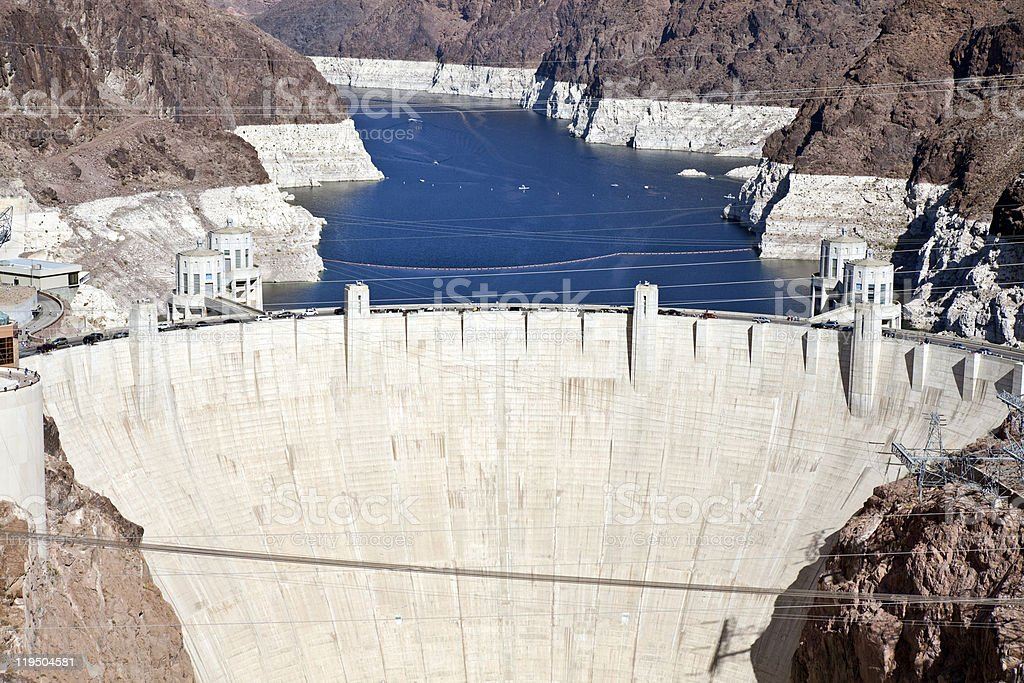 Aerial view of Lake Mead behind Hoover Dam stock photo