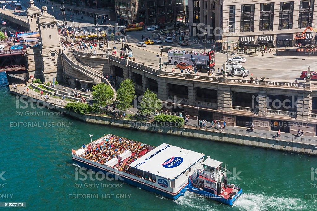 Aerial view of Lake Michigan and Wacker Drive stock photo