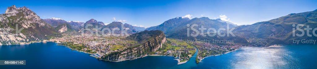 Aerial View of Lake of Garda, Italy stock photo