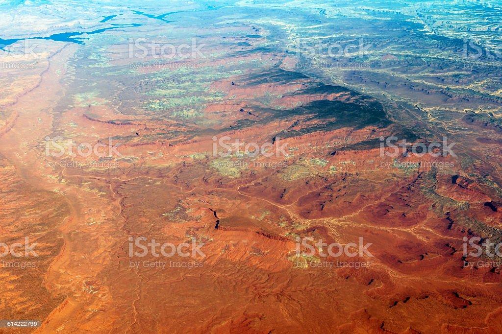 Aerial View of Lake Powell Utah Arizona USA stock photo