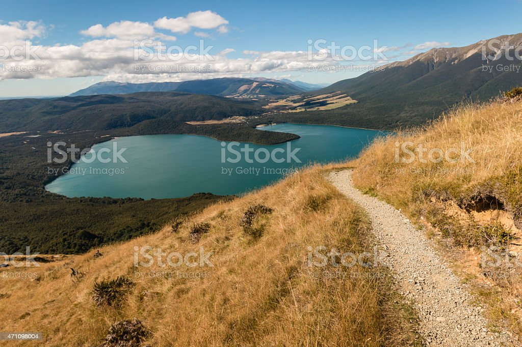 aerial view of lake Rotoiti in Nelson Lakes National Park stock photo