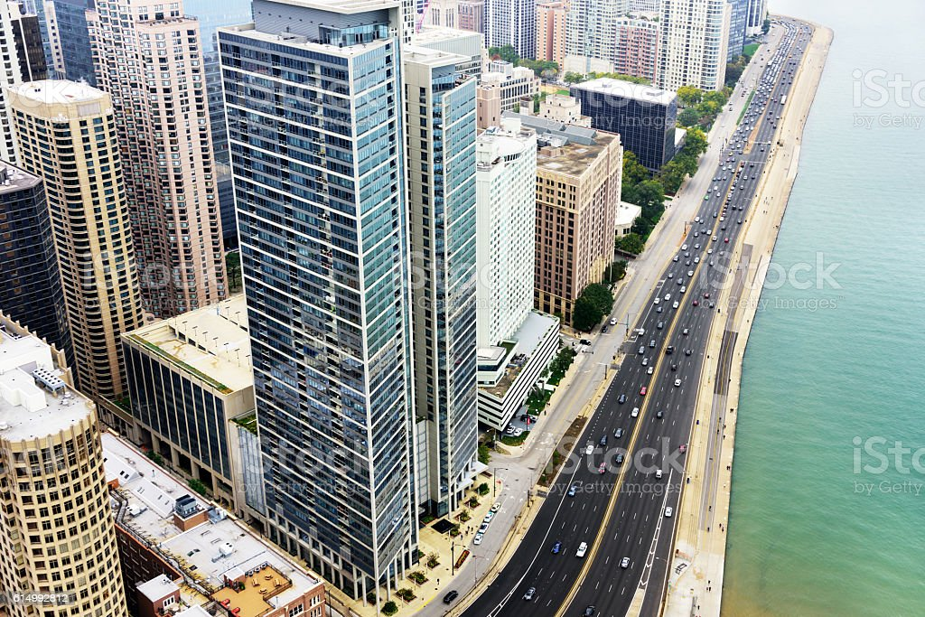 Aerial view of Lake Shore Drive and residential skyscrapers, Chi stock photo
