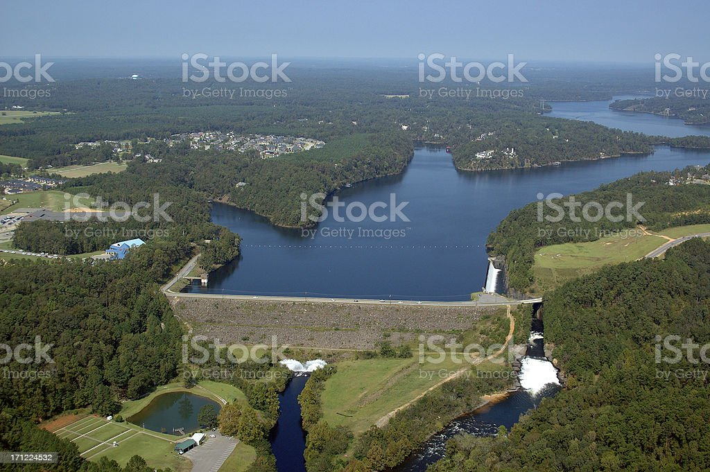 Aerial view of Lake Tuscaloosa Dam stock photo