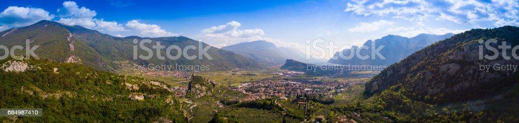 Aerial View of Lake Valleyand Lake of Garda, Italy stock photo