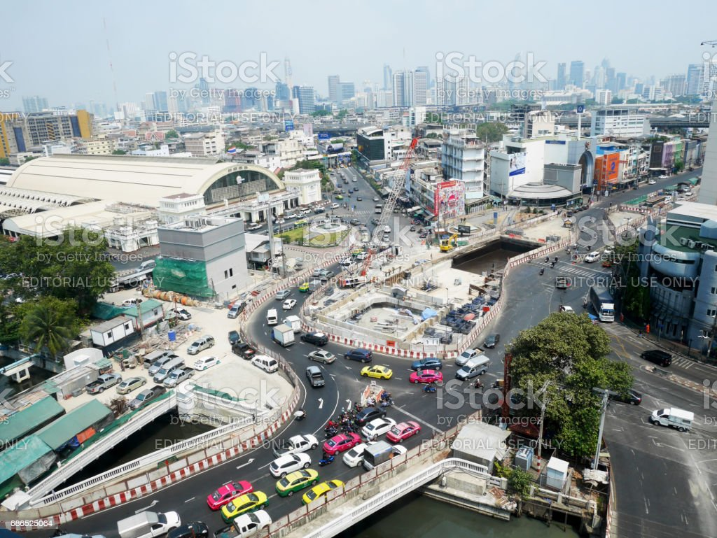 Aerial view of Landscape and cityscape with traffic road at Hua Lamphong of Bangkok stock photo