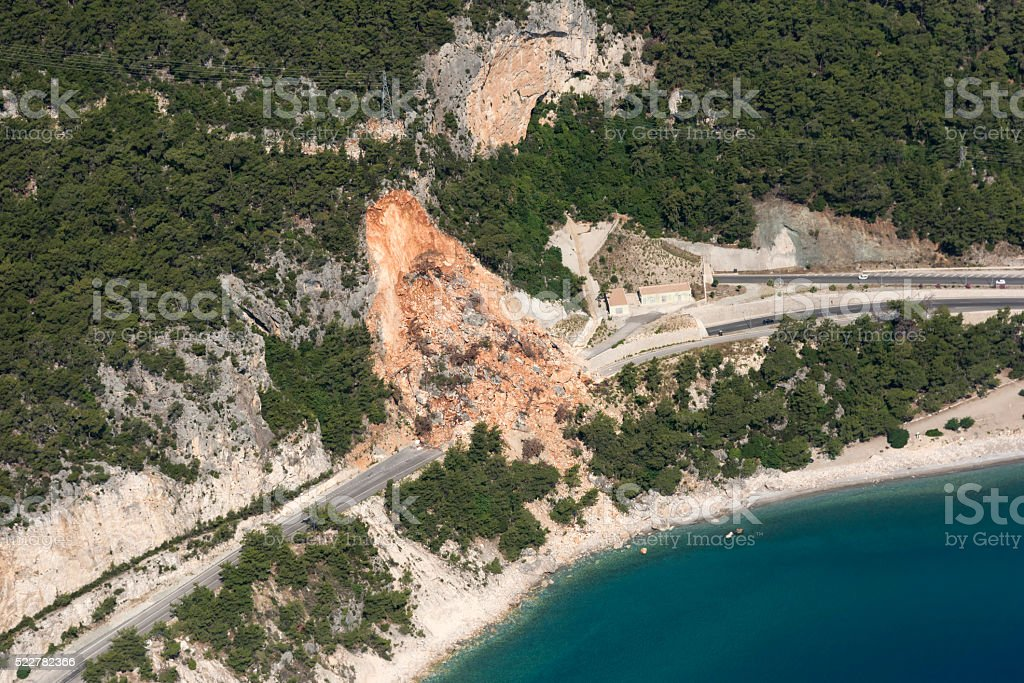 Aerial View of Landslides on road near the seaside stock photo