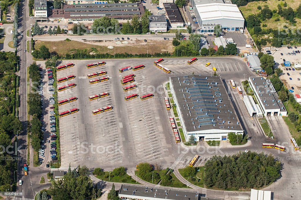 aerial view of large bus parking stock photo
