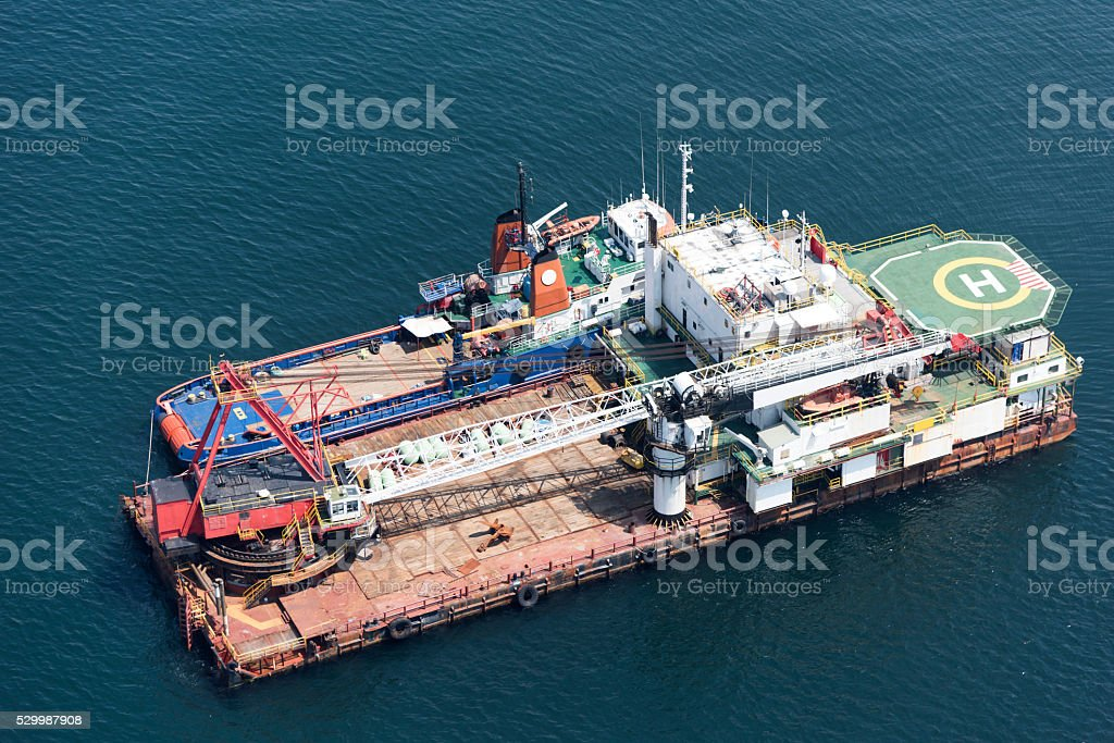 Aerial view of  large crane the platform on sea stock photo
