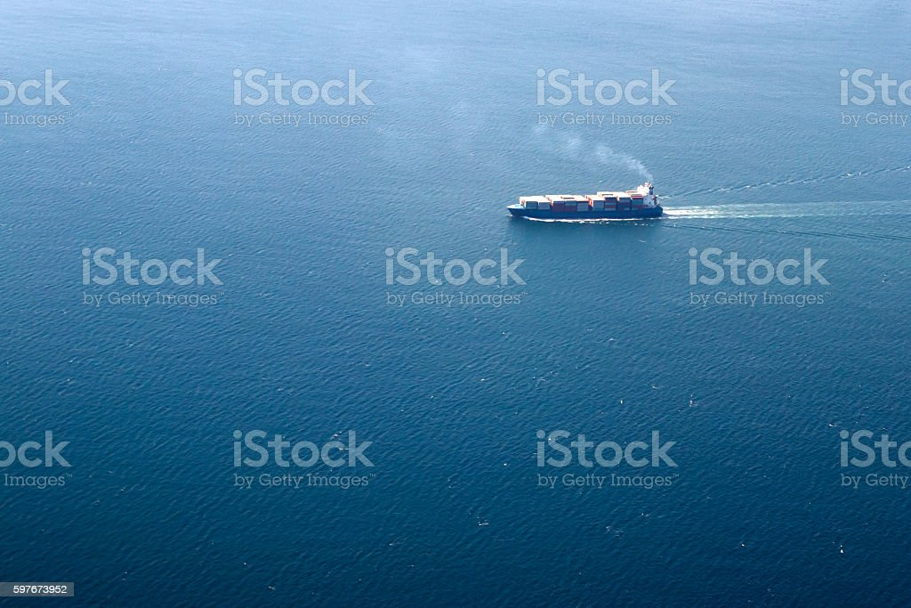 Aerial view of large cruise ship stock photo