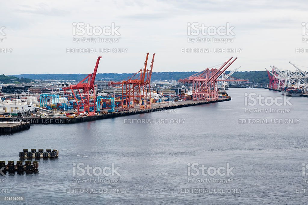 Aerial View of Large Red Container Cranes In Seattle Harbor stock photo
