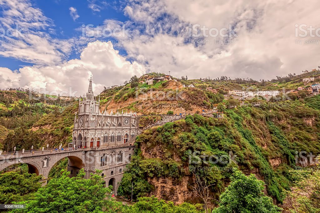 Aerial View Of Las Lajas Cathedral In Ipiales, Colombia stock photo