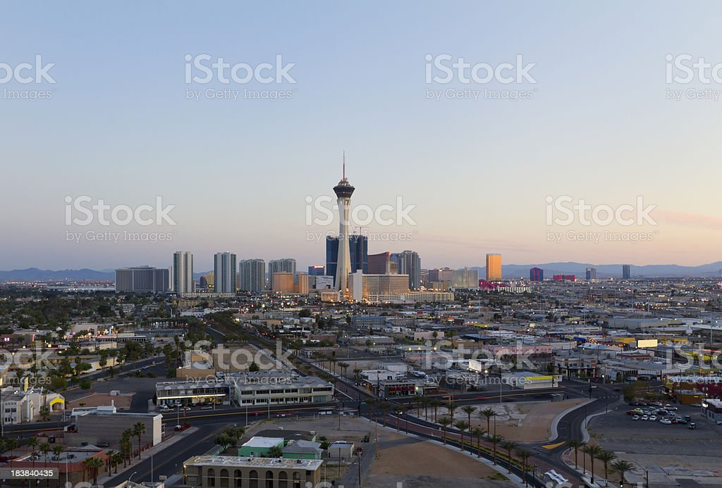 Aerial View of Las Vegas at Sunset royalty-free stock photo