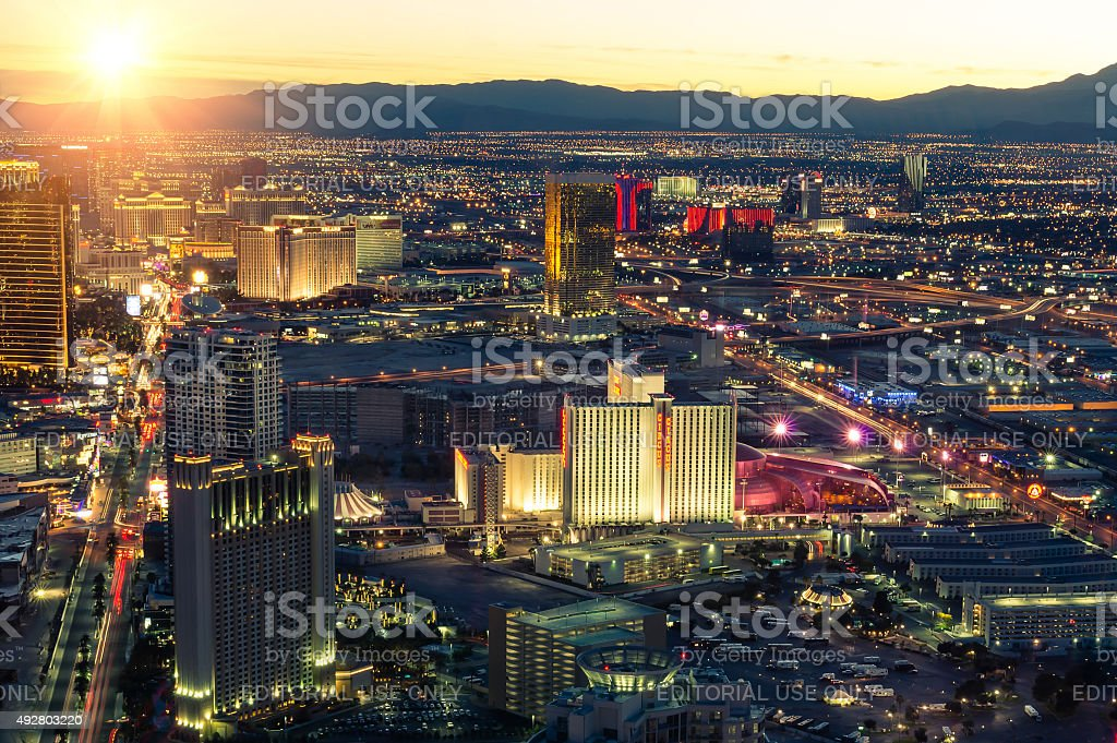 Aerial view of Las Vegas at sunset stock photo