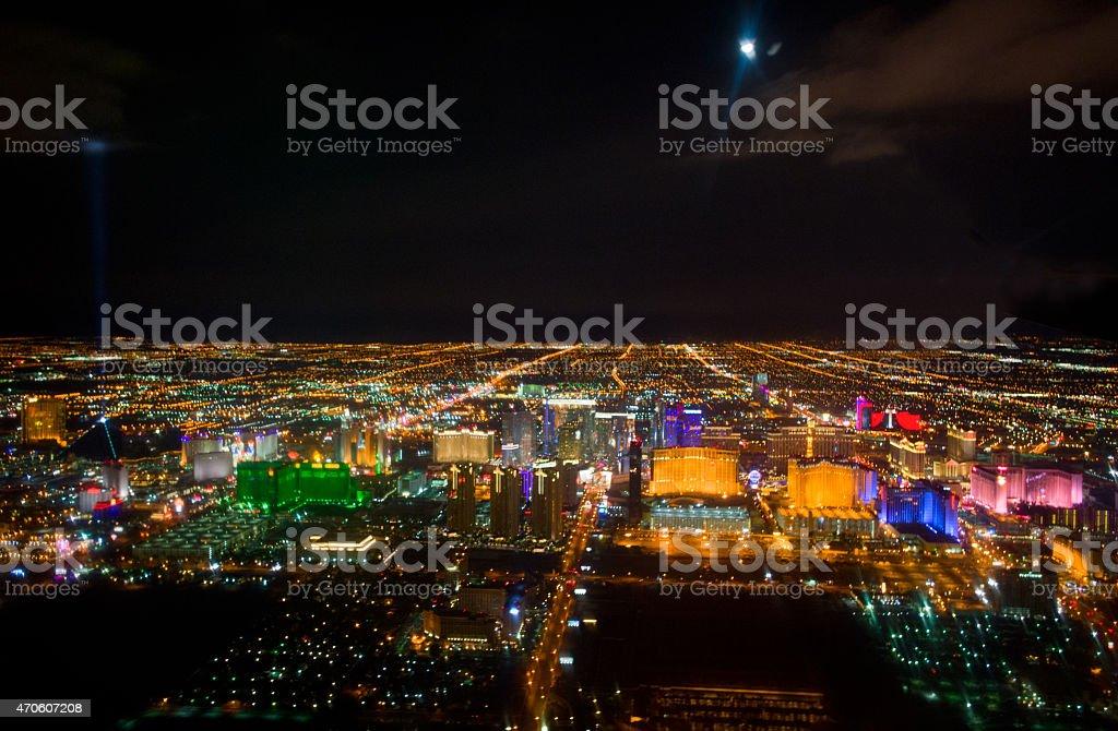 Aerial view of Las Vegas by night, Nevada stock photo