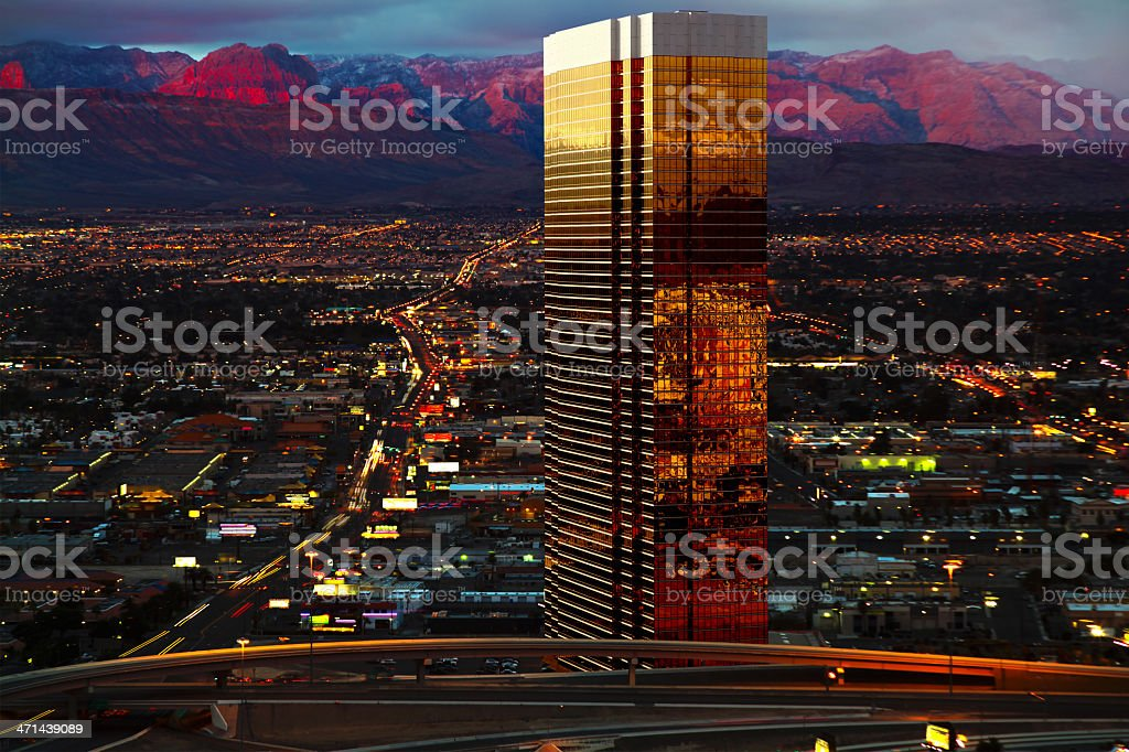 Aerial view of Las Vegas just after sunset royalty-free stock photo