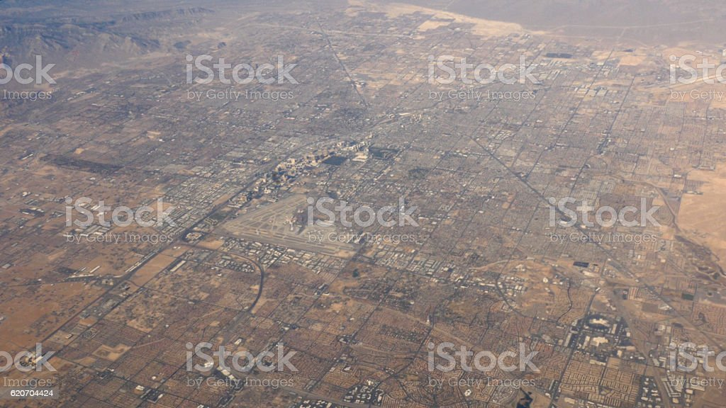 Aerial view of Las Vegas Nevada out of plane window 4k stock photo