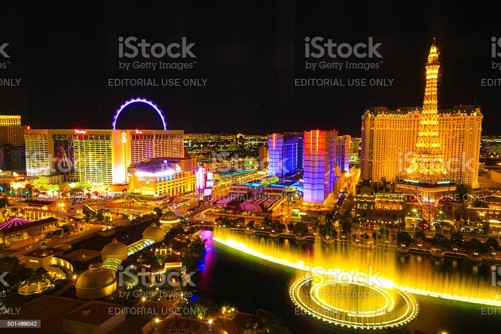 Aerial view of Las Vegas Strip at night stock photo