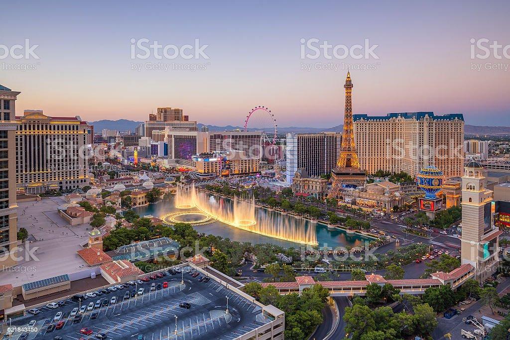 Aerial view of Las Vegas strip in Nevada stock photo