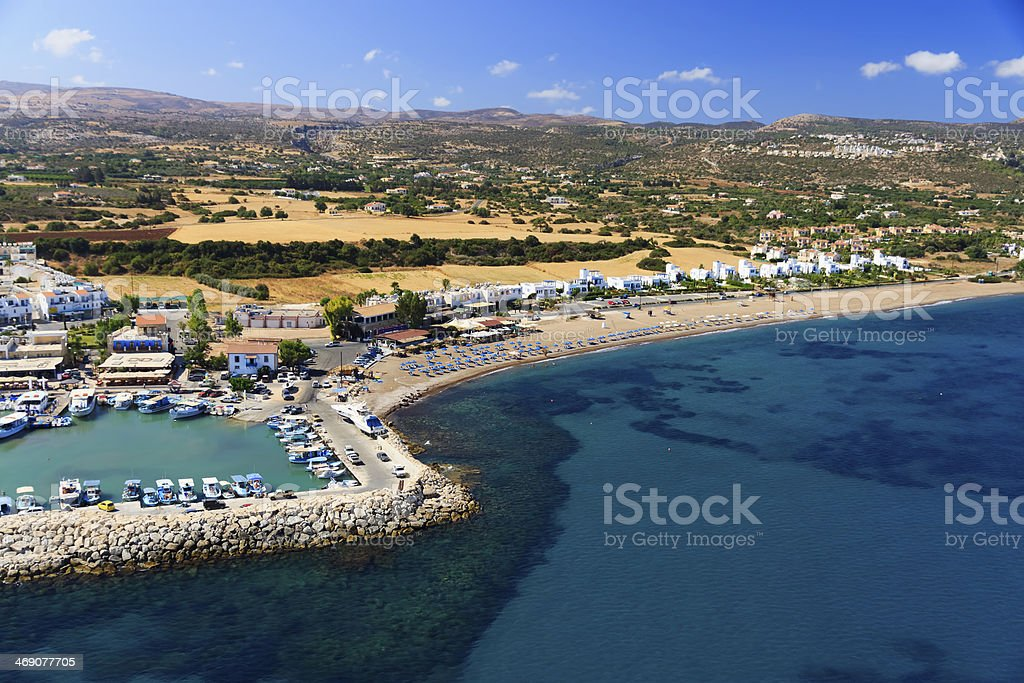 Aerial view of Latchi beach, Paphos area, Cyprus stock photo