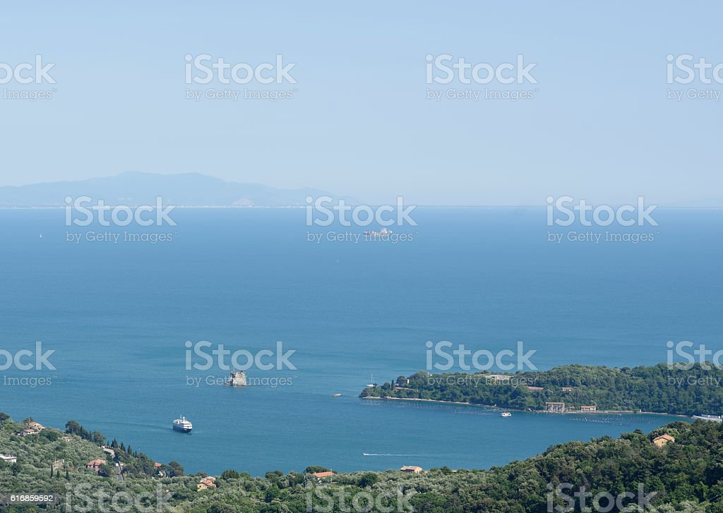 aerial view of le grazie stock photo