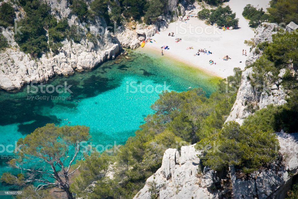 Aerial view of Les Calanques on the French Riviera stock photo