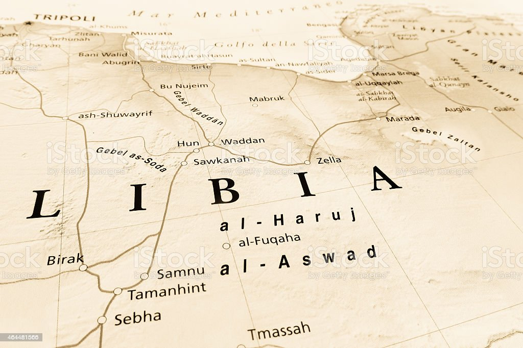 aerial view of Libya stock photo