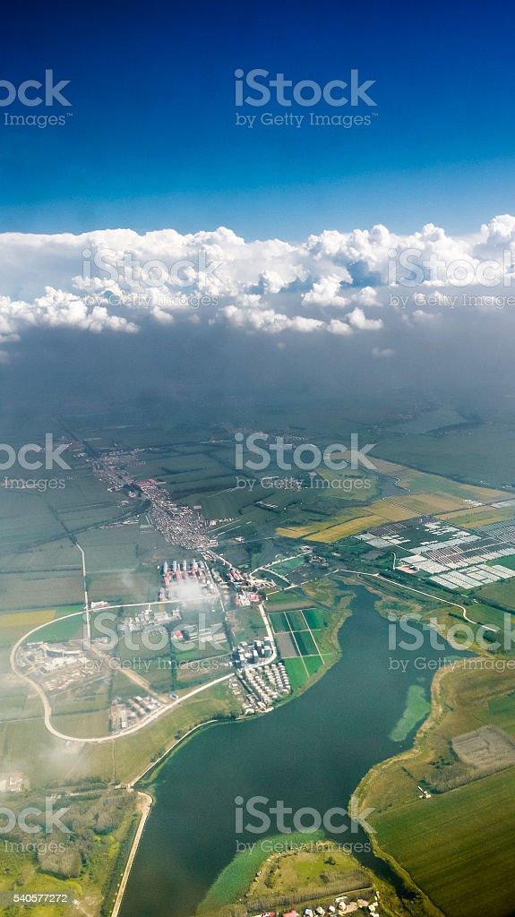Aerial view of Ligong Reservoir under blue sky, Harbin stock photo